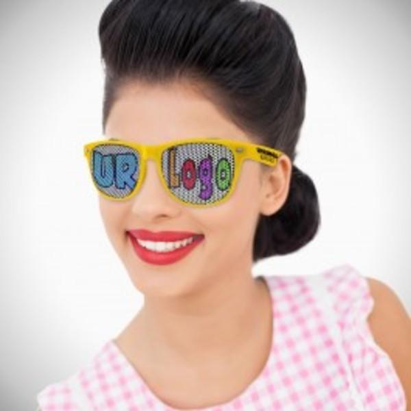 Yellow retro-style sunglasses with