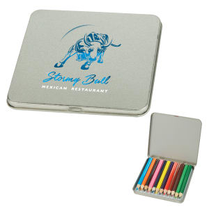 Pencil tin filled with