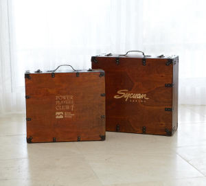 Stained presentation wood suitcase