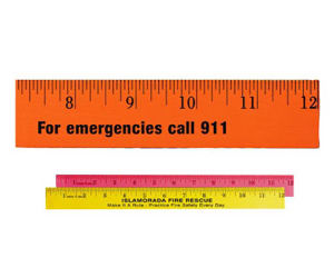 Fluorescent wood ruler, 12