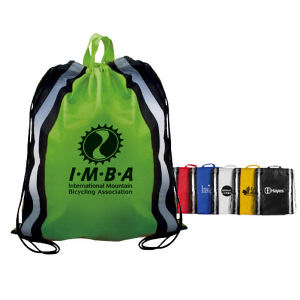 Non-woven reflective drawstring backpack.