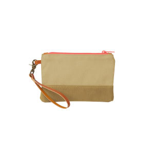 Wristlet with canvas exterior