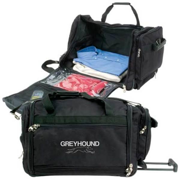 Travel bag on wheels.