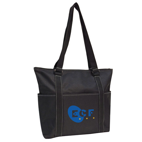 Tote with tablet compartment.