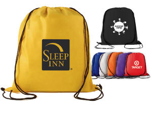 Non-woven polypropylene drawstring backpack.