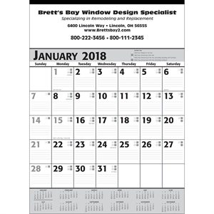 Commercial calendar planner with