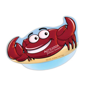 Crab-shaped tin filled with