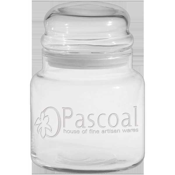 Glass apothecary jar holds