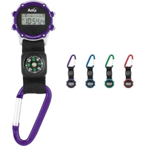 Carabiner clip-on watch with