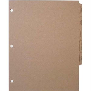 Natural chipboard index tabs,