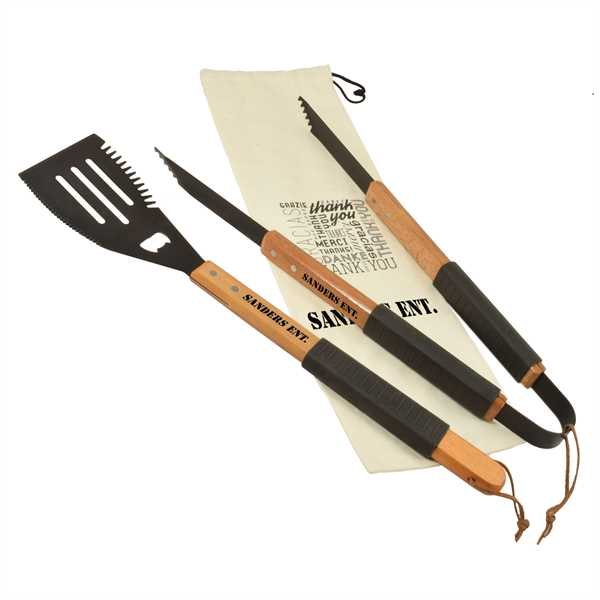 Wooden barbecue gift set