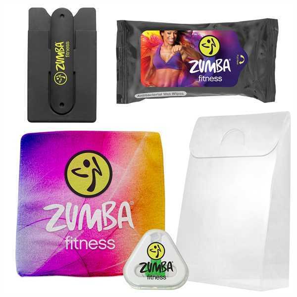 Gym necessities kit containing