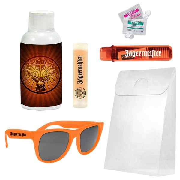 Hangover kit containing sunglasses,