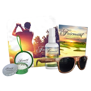 Golf kit containing sunglasses,