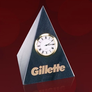 Pyramid Black Marble Clock