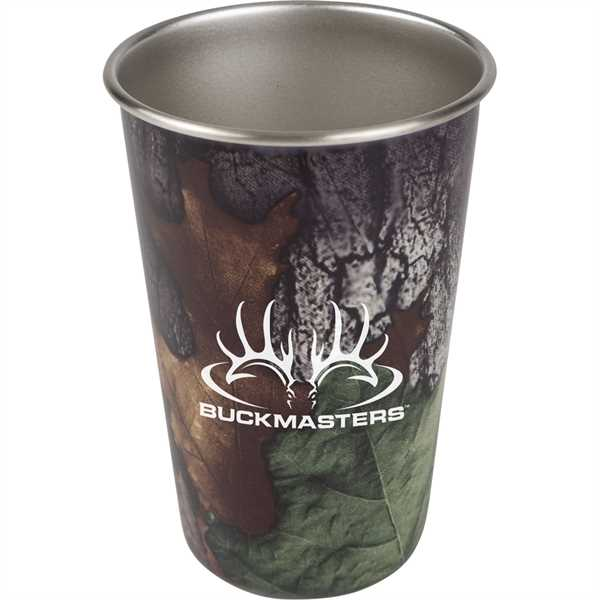 Camo-patterned pint glass made