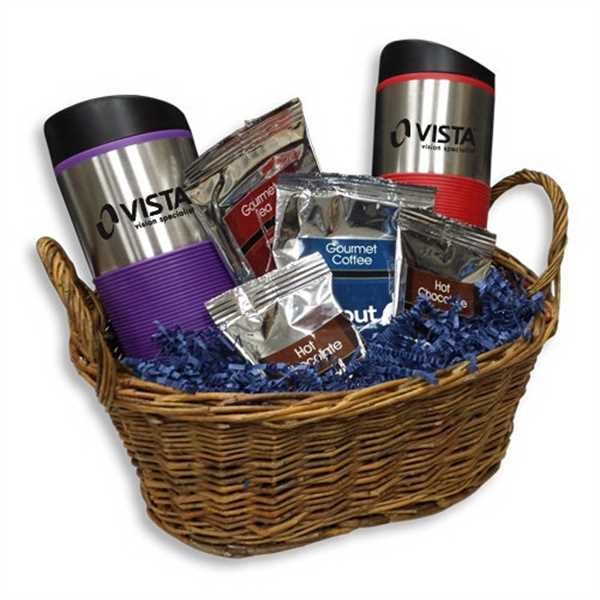 Gift basket with coffee,