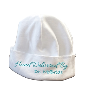 Infant's white knit cap
