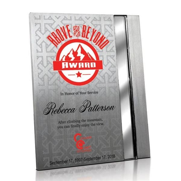Silver aluminum plaque with