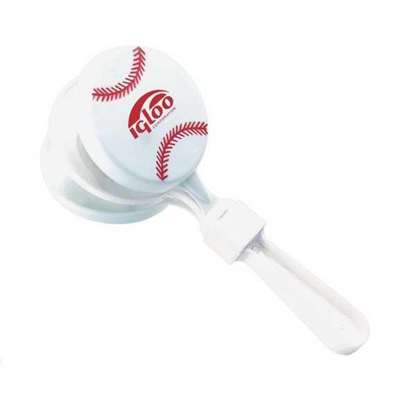 Baseball-shaped clapper noisemaker.