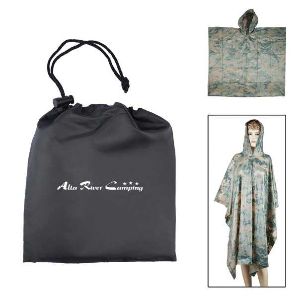 Camouflage poncho in a