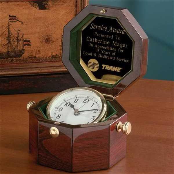 Octogon Clock - Rosewood