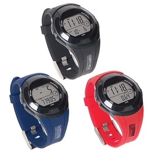 Water-resistant rally pedometer watch