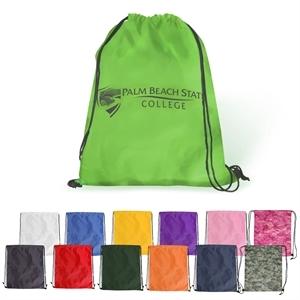 Polyester drawstring backpack.