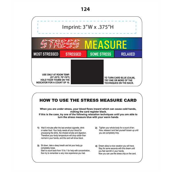 Stress measure card with