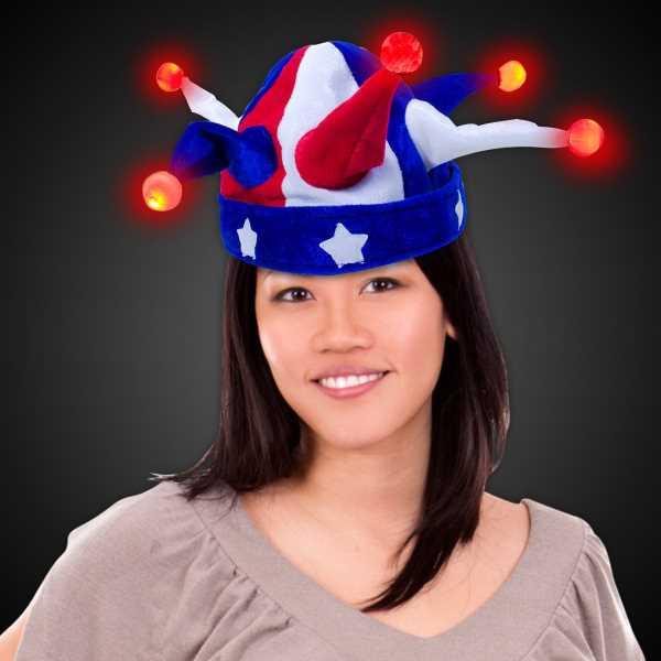 USA-themed novelty jester hat