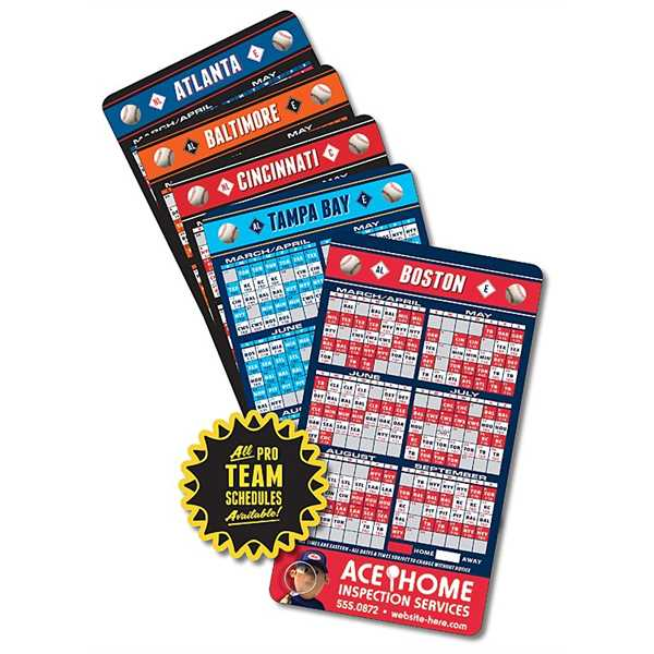 Laminated Baseball Schedules -