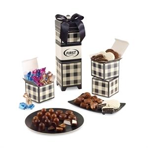 Plaid-patterned keepsake gift box