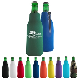 Bottle coolie with zipper.