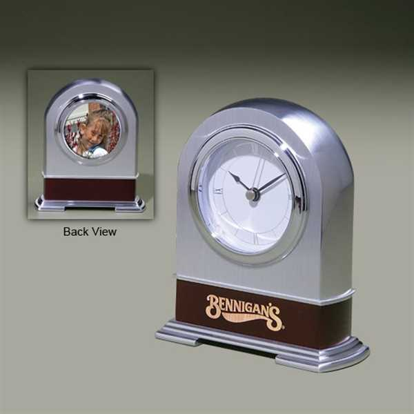 Solid brushed metal clock