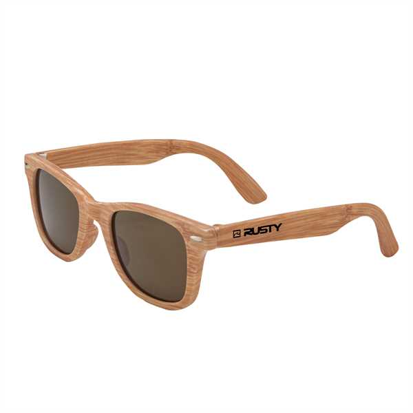 Woodgrain sunglasses that feature