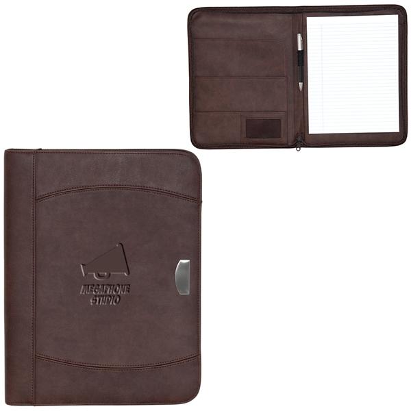 Zippered notebook portfolio.