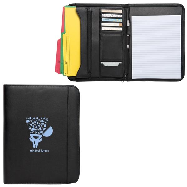 Zippered notepad portfolio made