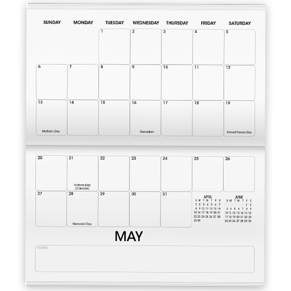 Horizontal monthly inserts with