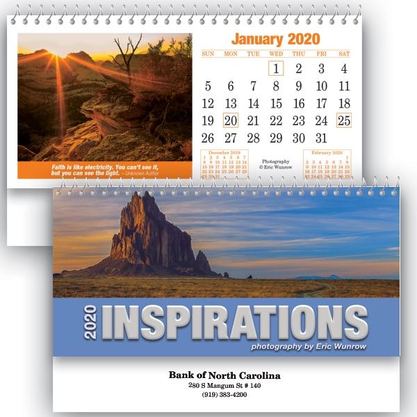 Spiral bound desk calendars.