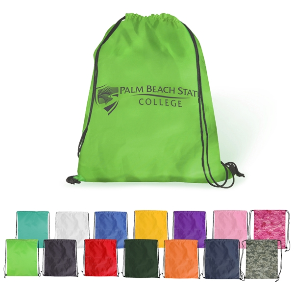 Polyester drawstring backpack.
