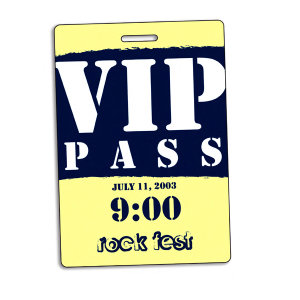 Plastic VIP pass, coated