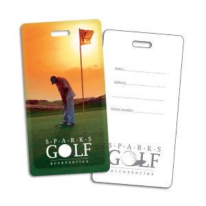 Plastic golf bag tag,