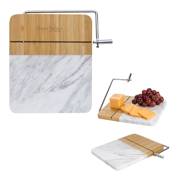 Marble and bamboo cheese