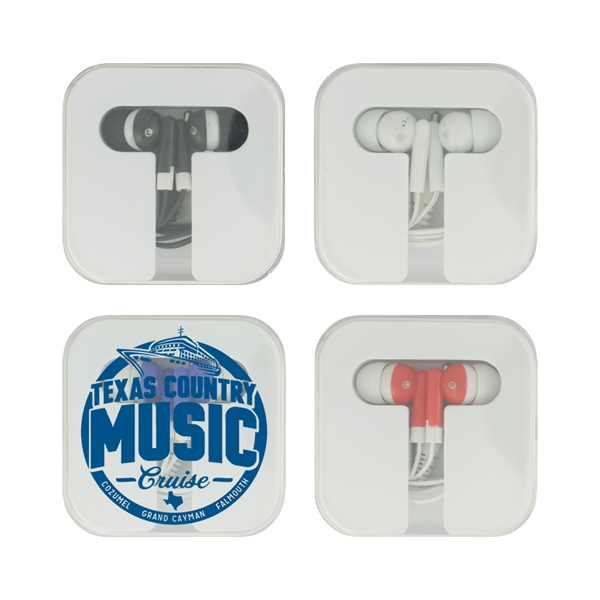 Earbuds in Square Caddy