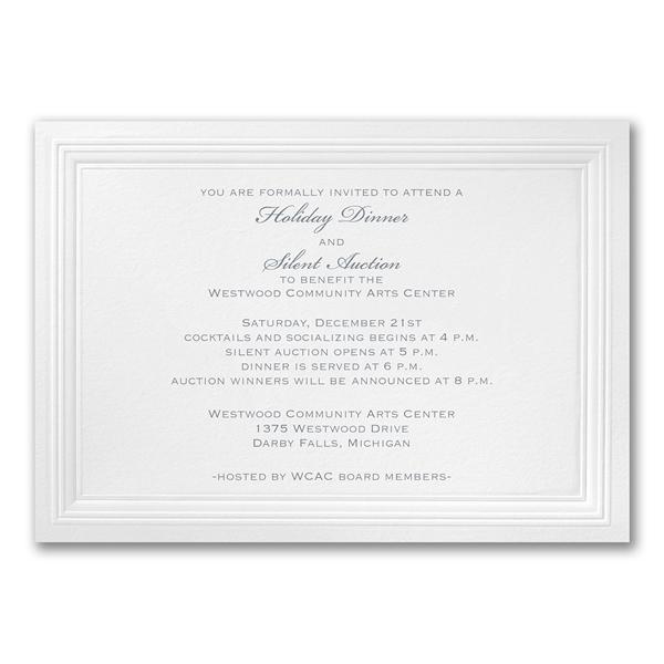 White Paneled event invitations.