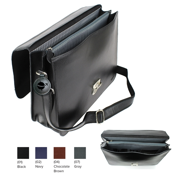 Leather briefcase with two