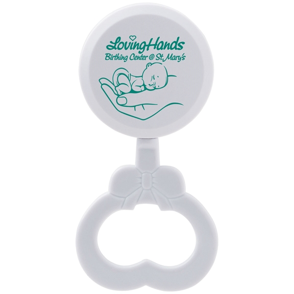 White baby rattle with