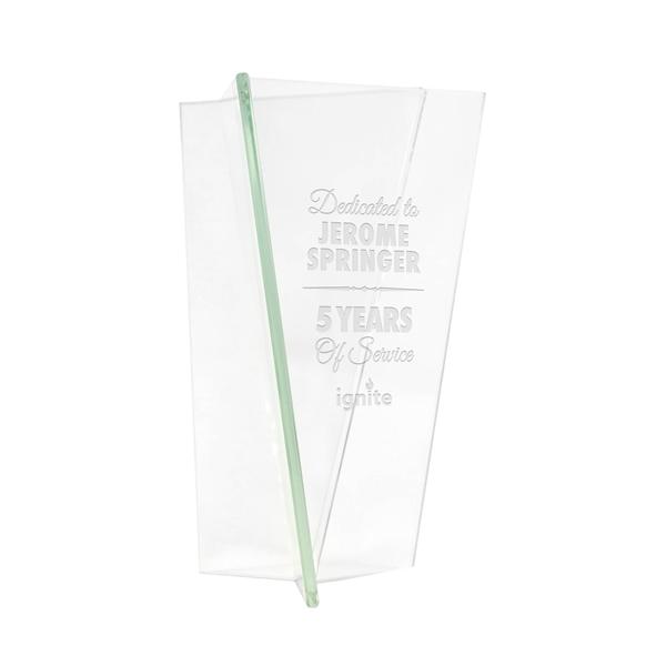 Deep etched triangular vase