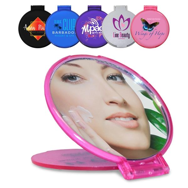 Compact size, round mirror