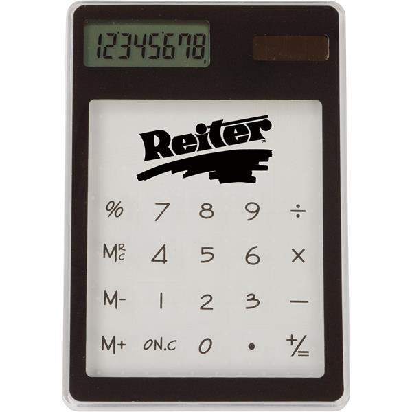 Transparent solar-powered calculator in